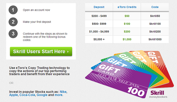 eToro teams up with Skrill to give you up to $1000 on your first deposit