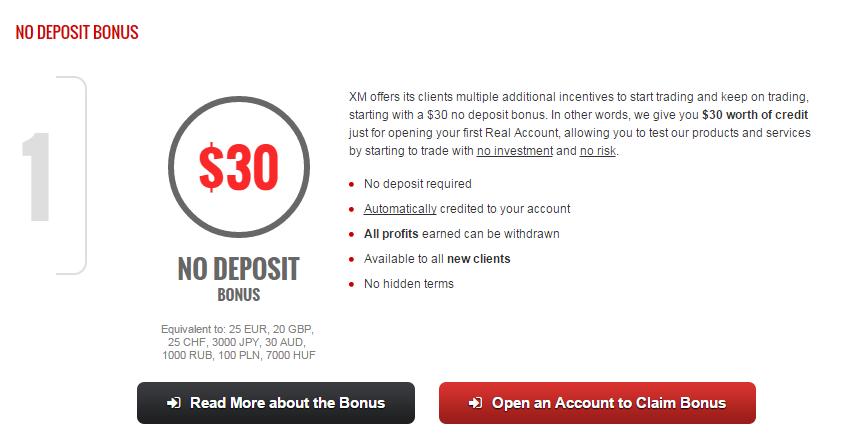 $30 No Deposit Bonus